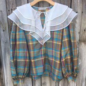 Vintage Escada 100% Silk Plaid Prairie Blouse L